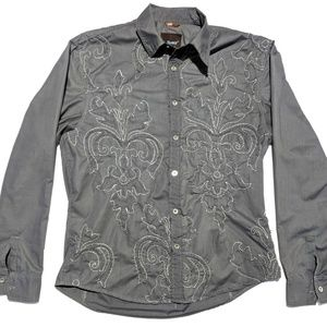 Roar Mens XL Long Sleeve Button Up Shirt Gray EUC